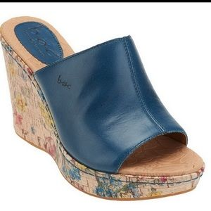 Born Blue Wedges with Floral Print